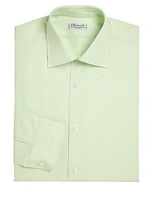 Charvet Regular-Fit Solid Cotton Dress Shirt In Light Green