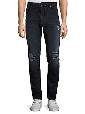 Diesel Thavar Distressed Skinny-Fit Jeans In Denim