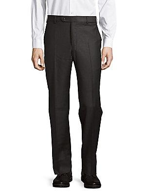 Zanella Wool Buttoned Pants In Dark Grey