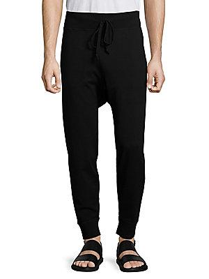 Vince Solid Regular-Fit Jogger Pants In Black
