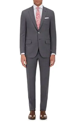Isaia Sanita Wool Two-Button Suit In Grey