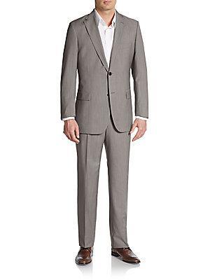 Boss Hugo Boss Regular-Fit Tic Weave Virgin Wool Suit In Brown