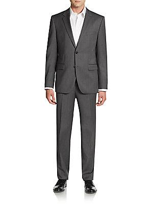Boss Hugo Boss Regular-Fit The Grand Central Stretch Wool Suit In Dark Grey