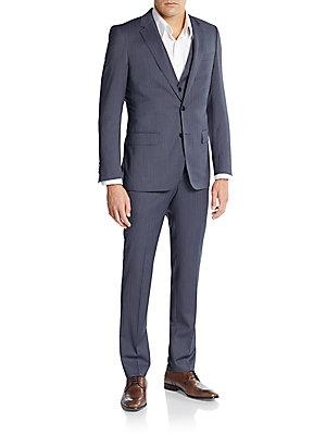 Boss Hugo Boss Huge/Genius Regular-Fit Pinstriped Three-Piece Suit In Dark Grey