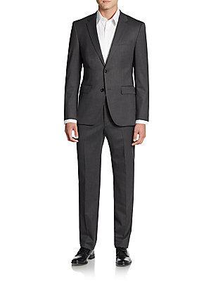 Boss Hugo Boss Regular-Fit The Grand Central Herringbone Wool Suit In Dark Grey