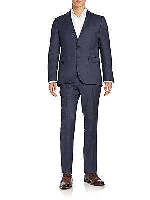 Boss Hugo Boss Johnstons1 Regular-Fit Houndstooth Stretch-Wool Suit In Navy