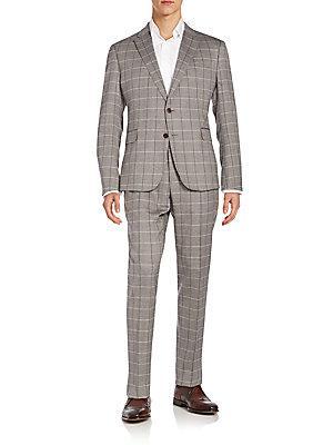 Armani Collezioni Regular-Fit Windowpane Check Virgin Wool Suit In Grey