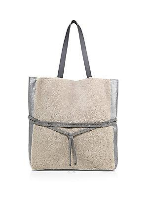 Brunello Cucinelli Shearling & Metallic Leather Tote In Sea