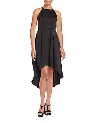 Aidan Mattox Strapless Puffed-Skirt Dress In Black