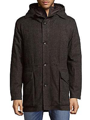 Dolce & Gabbana Two-Piece Hooded Coat In Blue Pattern