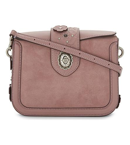 Coach Page Glovetanned Leather And Suede Cross-Body Bag In Dusty Rose