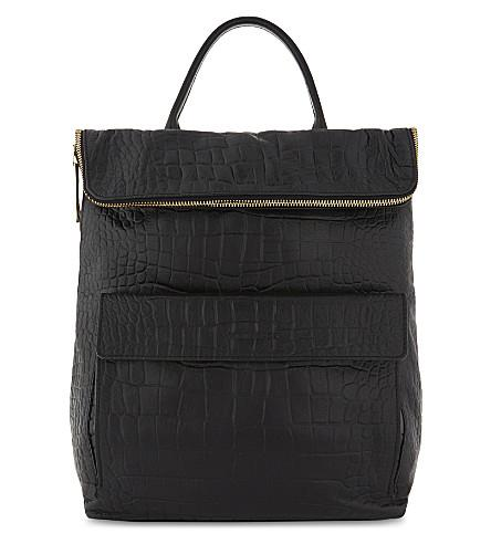 Whistles Verity Crocodile-Embossed Leather Backpack In Black