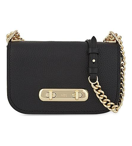 Coach Swagger 20 Pebbled Leather Cross-Body Bag In Black
