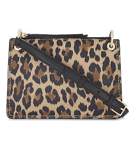 Kate Spade Dunne Leather Cross-Body Bag In Leopard