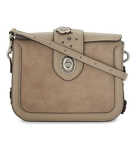 Coach Page Glovetanned Leather And Suede Cross-Body Bag In Stone