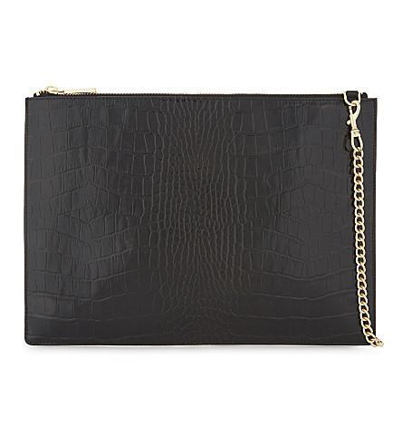 Whistles Rivington Medium Crocodile-Embossed Leather Clutch In Black