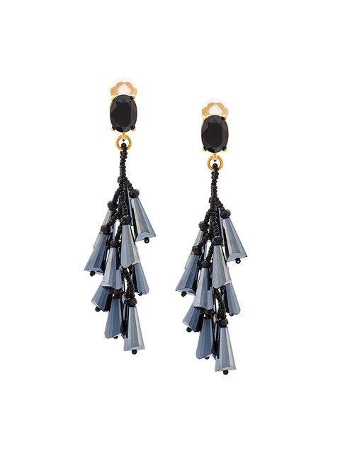 Oscar De La Renta Cluster Drop Earrings
