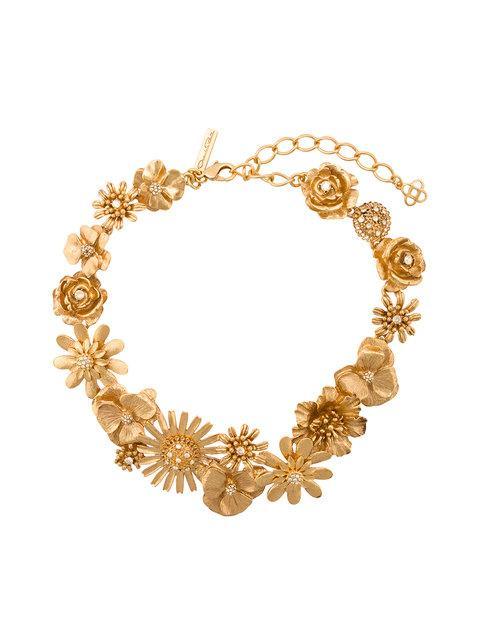 Oscar De La Renta Flower Cluster Necklace