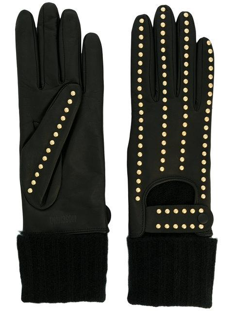 Moschino Studded Gloves