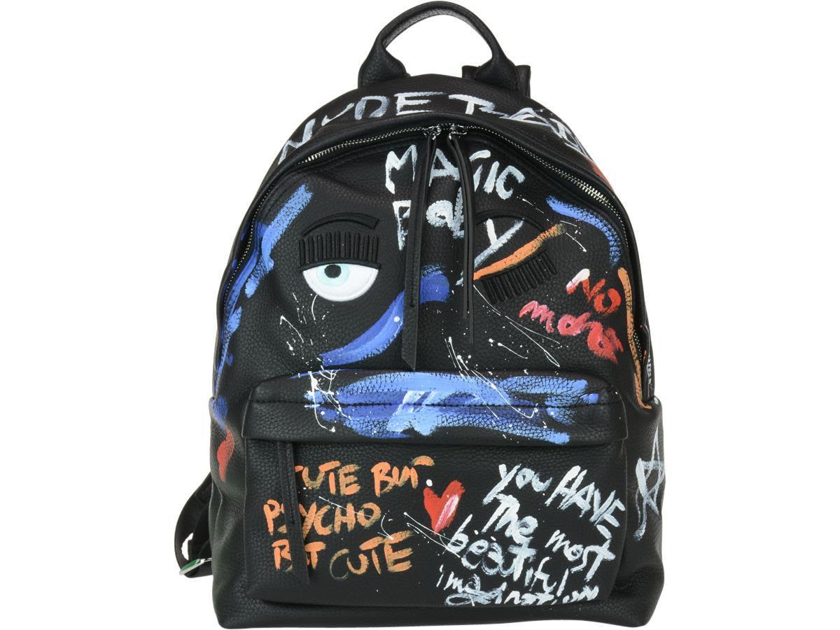 Chiara Ferragni Hand Painted Backpack In Black Multicolor