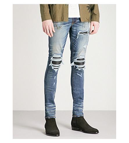 Amiri Leather Patch Slim-Fit Skinny Jeans In Medium Indigo
