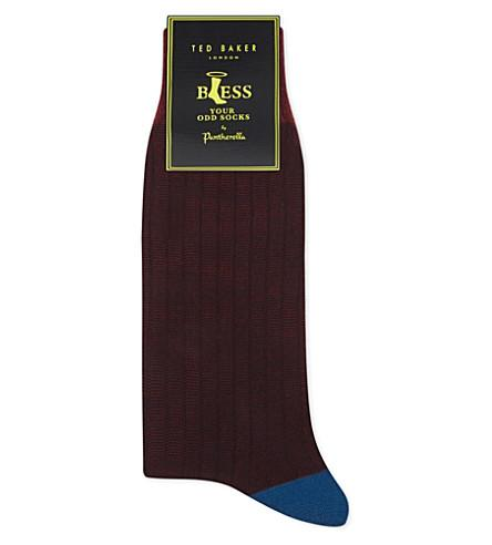Ted Baker Colour-Block Striped Socks In Red
