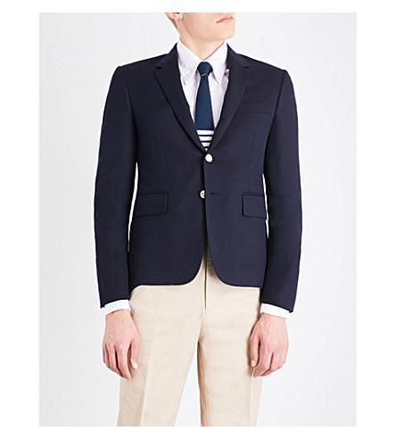 Thom Browne Hector Embroidered-Detail Wool Jacket In Navy