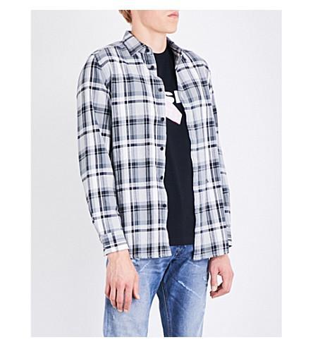 Diesel S-Luck Regular-Fit Cotton-Flannel Shirt In Black