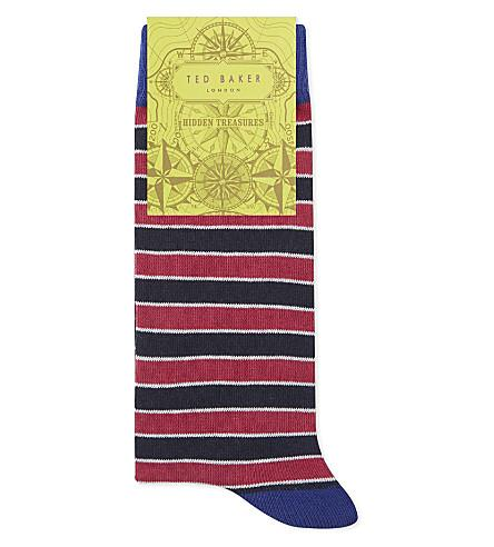 Ted Baker Striped Organic Cotton-Blend Socks In Navy