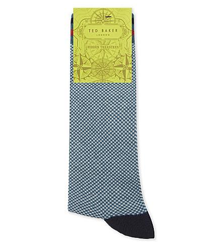 Ted Baker Moye Check Print Cotton-Blend Socks In Teal