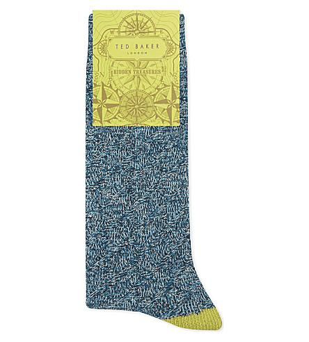 Ted Baker Textured Organic Cotton-Blend Socks In Navy