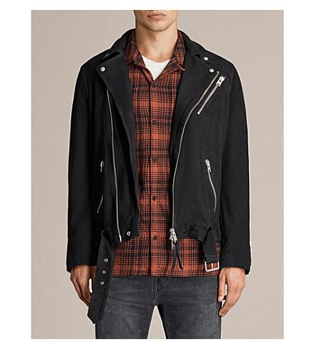 Allsaints Kolton Leather Biker Jacket In Ink Navy