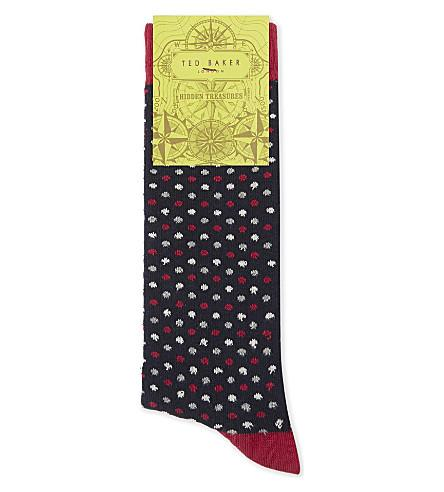 Ted Baker Doodle Organic Cotton-Blend Socks In Navy
