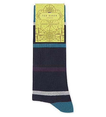 Ted Baker Striped Organic Cotton-Blend Socks In Dark Blue