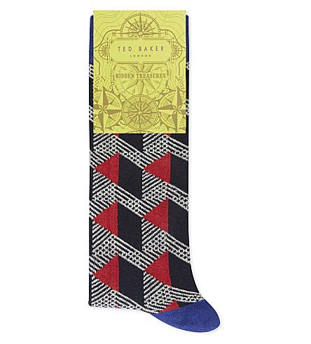Ted Baker Geo Pattern Organic Cotton-Blend Socks In Red
