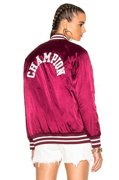Champion Burgundy Nylon Logo Bomber Jacket