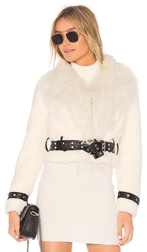 Eaves Caden Faux Fur Jacket In Ivory