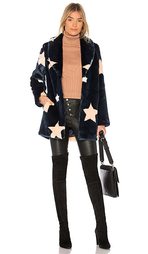 Eaves Althea Faux Fur Coat In Navy