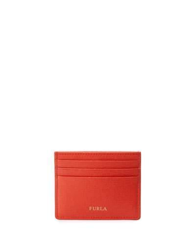 Furla Classic Saffiano Leather Card Case, Arancio In Wine