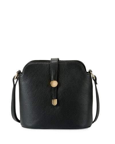 Neiman Marcus Framed Dome Leather Crossbody Bag, Black In Red