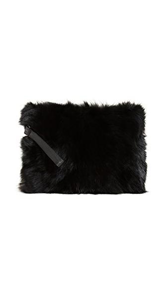 Jocelyn Fox Fur Clutch In Black