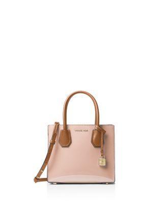 Michael Michael Kors Studio Mercer Color Block Medium Patent Leather Messenger In Ballet Pink/Gold