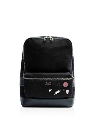 Zadig & Voltaire Arizona Canvas & Leather Backpack In Black/Silver