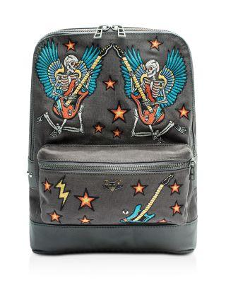 Zadig & Voltaire Arizona Canvas Embroidered Backpack In Elephant/Silver