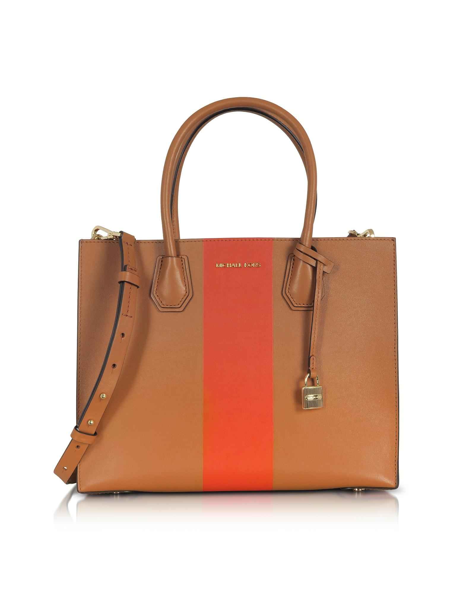 Michael Kors Mercer Large Acorn & Orange Center Stripe Leather Convertible Tote Bag