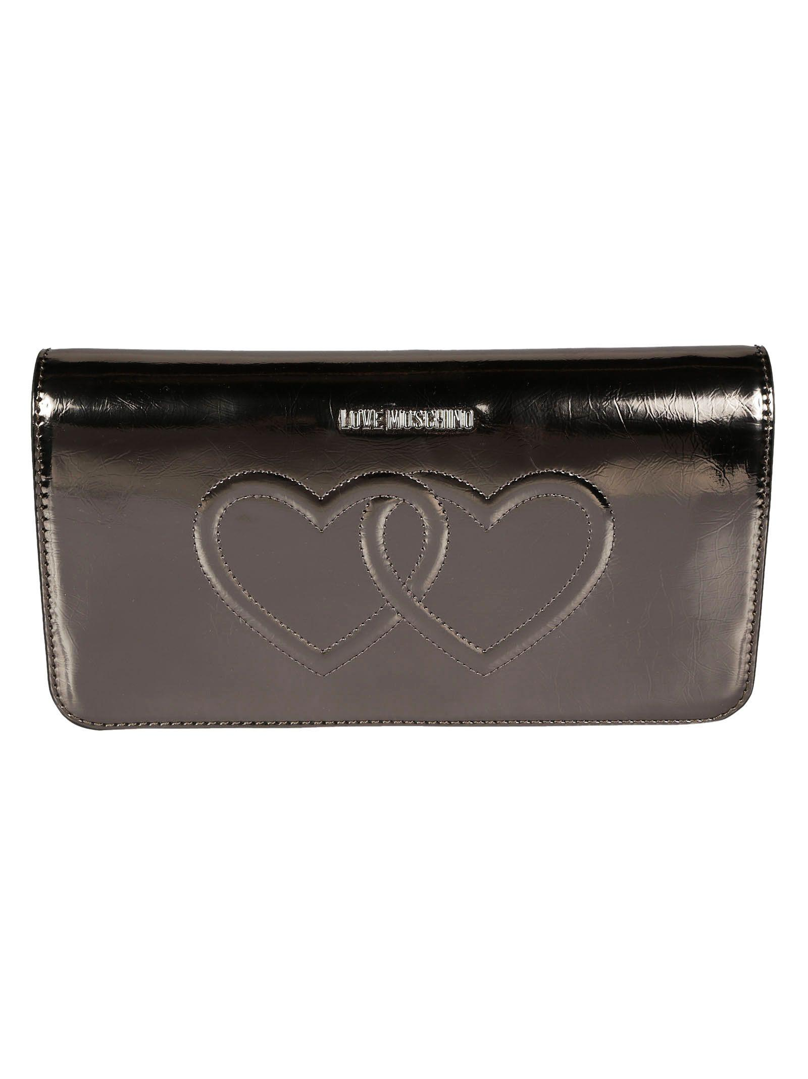 Love Moschino Interlocked Hearts Shoulder Bag In Silver