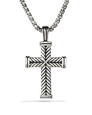 David Yurman Chevron Cross On Chain, 22 In Silver