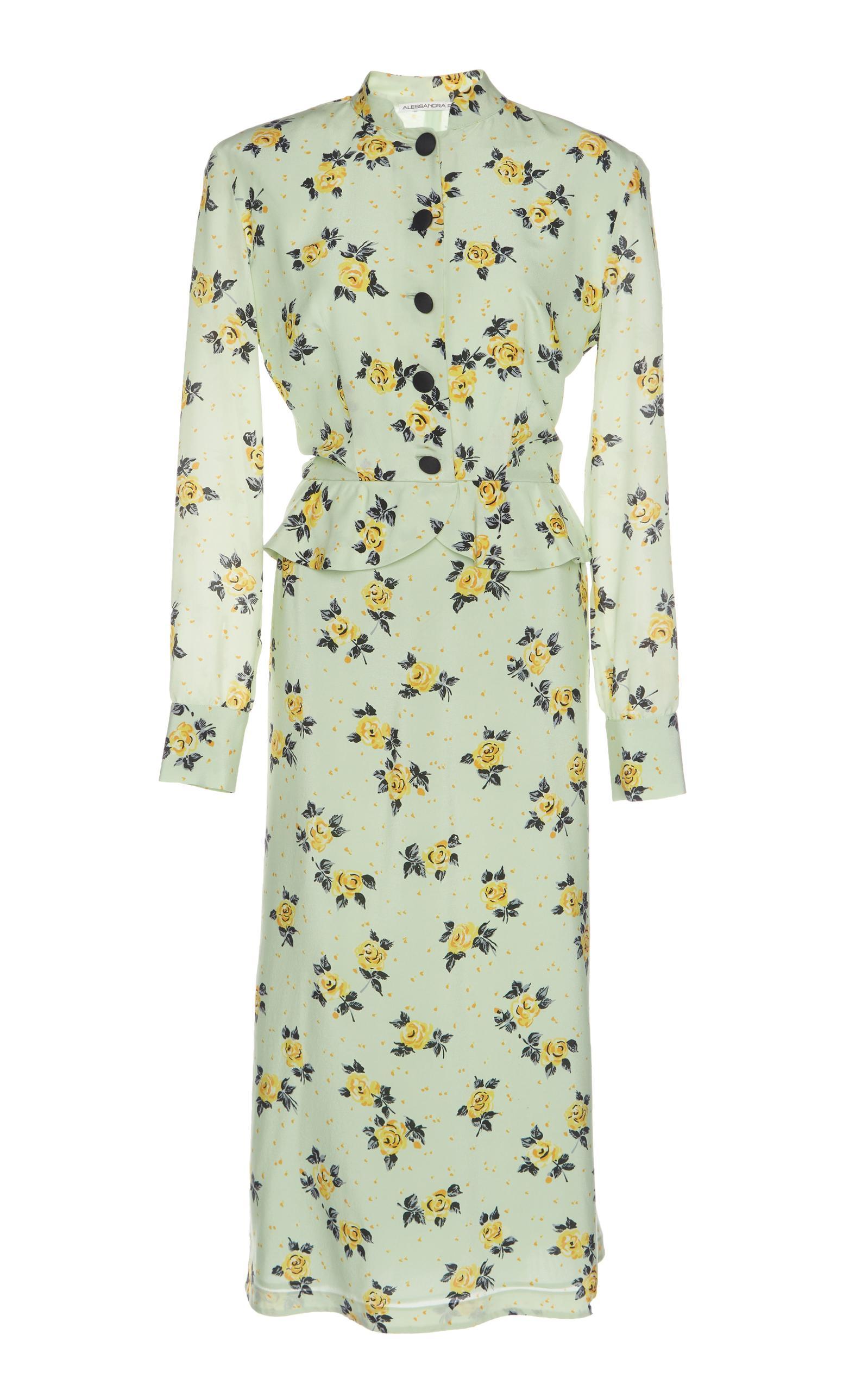 Alessandra Rich Flower Printed Midi Dress In Green
