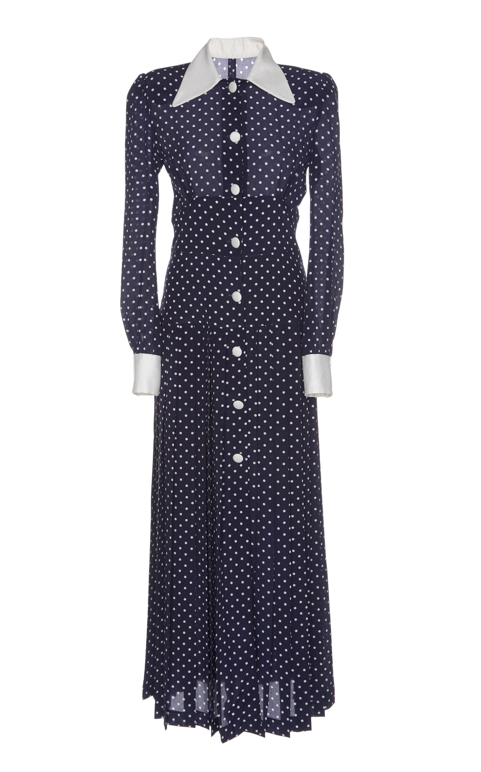 Alessandra Rich Pleated Polka-Dot Silk Crepe De Chine Midi Dress In Navy