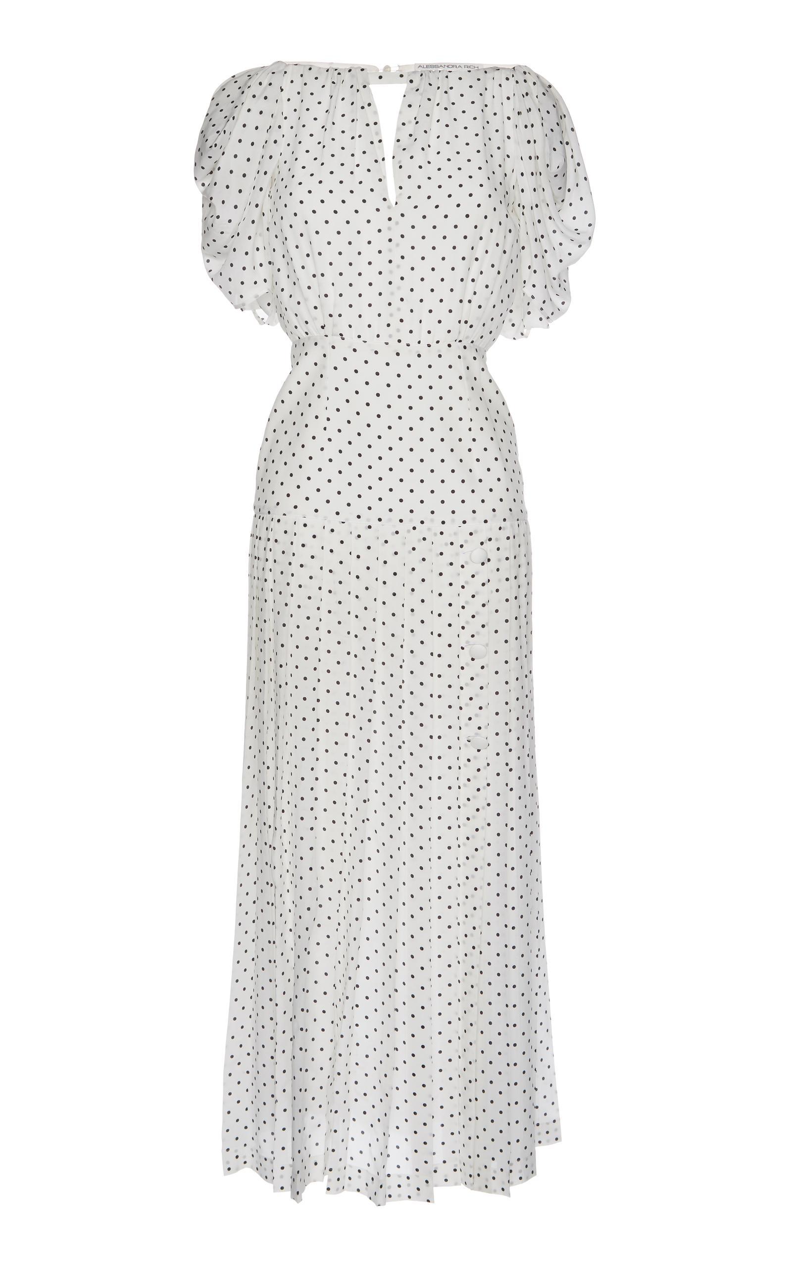 Alessandra Rich Polka Dot Maxi Dress In White